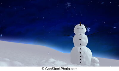 snowman blue sky