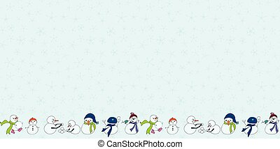 Snowman border with flakes colorful seamless vector