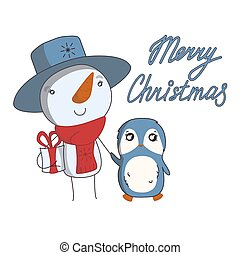 Snowman bringing a Christmas present with penguin. Cute vector illustration in cartoon style
