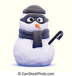snowman-burglar - 3d render of a snowman burglar