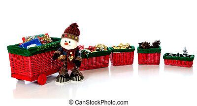 Snowman by a Christmas Train