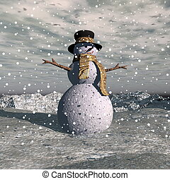 Snowman standing on the hill by snowing evening - 3D render