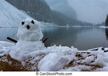Snowman by the lake