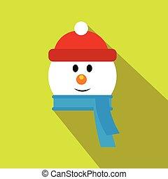 snowman, cabeza plana, icono