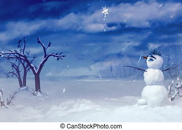 Snowman can use for Xmas and winter concept video. This...
