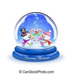 Snowman Candy Cane Love Snow Globe