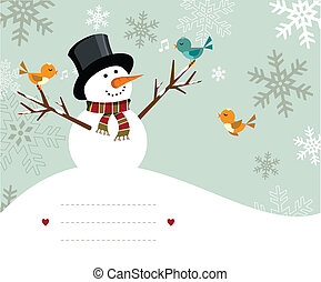 Snowman card - Snowman with birds illustration with blank ...
