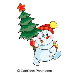 snowman carries a green christmas tree, christmas, cartoon illustration, isolated object on white background, vector illustration,