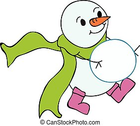 Snowman carrying snowball with green scarf flying behind vector illustration
