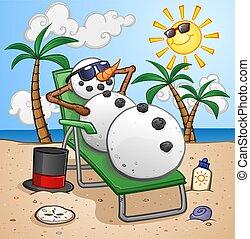 Snowman Cartoon Character Relaxing on a Beach Chair
