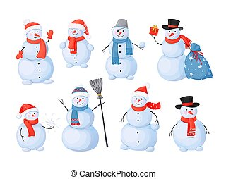 Snowman. Cartoon Christmas characters with happy faces, sculpture for winter outdoor activity after snowfall. Snow and ice figure from white balls with scarves, hats, carrot nose vector isolated set