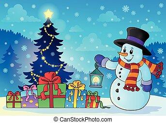 snowman, cerca, árbol de navidad, tema, 1