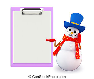 Snowman character with notepad