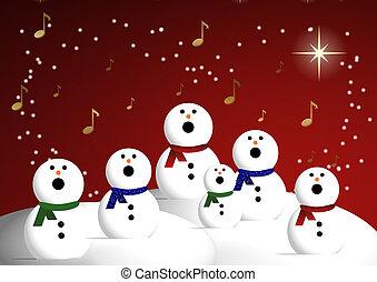 Snowman choir singing Christmas carols