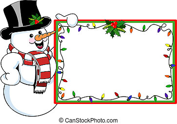 A vector illustration of a happy snowman with a black top hat, carrot nose, and red and white scarf, holding a colorful Christmas tag with holly and Christmas lights.