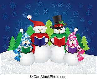 Snowman Christmas Carolers Snow Scene Illustration