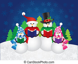 Snowman Christmas Carolers Snow Scene Illustration