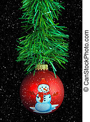 snowman Christmas ornament with snowflake