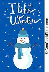 snowman, como, cartel, ilustración, vector, invierno