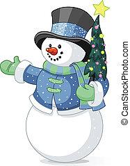 snowman, con, árbol de navidad