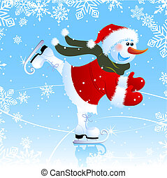 snowman - Vector illustration - snowman on a skating rink