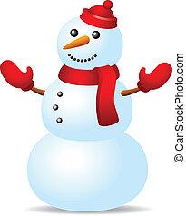 snowman, en, sombrero rojo