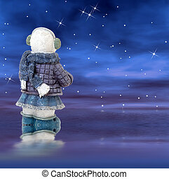 snowman, en, un, estrellado, noche