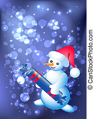 Snowman with candy