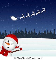 Snowman escorts Santa Claus in the woods