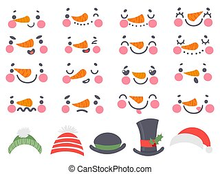 Snowman faces. Cute christmas snowmen heads with carrot nose, eyes and mouths. Happy new year 2021 and winter holidays cartoon vector set. Faces with different emotions and various hats