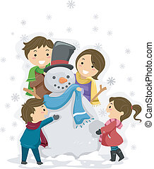 Snowman Family - Illustration of a Family Playing with a...