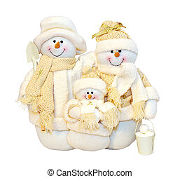 Snowman family dolls isolated with clipping path included