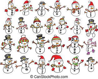 snowman, feriado, conjunto, navidad