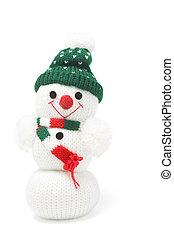 Snowman Figure on White Background