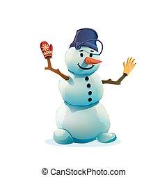 snowman, fondo., blanco, aislado, navidad