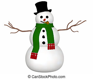 Snowman Front View - A front view illustration of a snowman ...