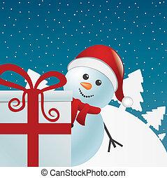 snowman gift box white winter