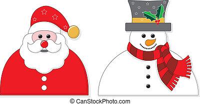 snowman, gráfico, santa