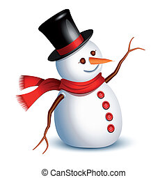 Happy snowman greeting with an arm