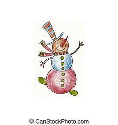 Snowman - Handmade illustration