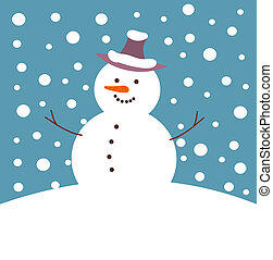 Snowman - Happy snowman in winter snow fall. Vector...