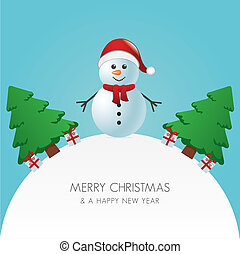 snowman hat christmas tree and gift