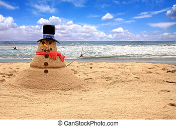 snowman, hecho, de, arena, en la playa