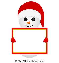 snowman holding a banner