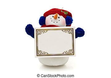 Snowman holding a blank card