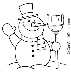 Snowman Holding A Broom And Waving - Black And White...