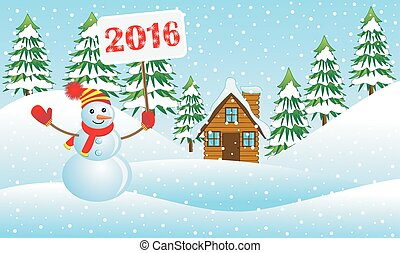 snowman holding a poster with the numbers 2016 in the winter forest