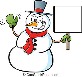 Snowman holding a sign