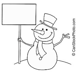 Snowman Holding A Sign - Black And White Coloring Page...