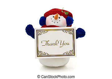 Snowman holding a thank you card isolated on white, merry...